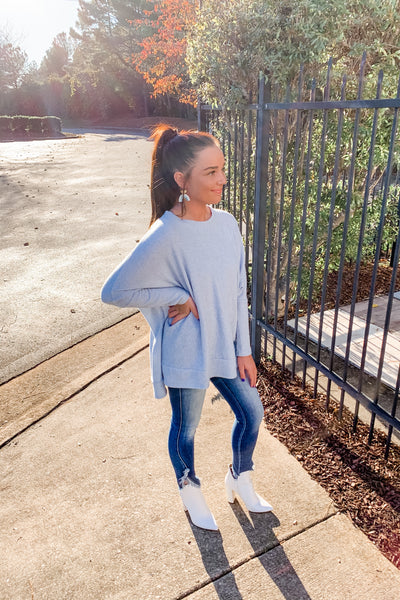 Addison Thermal Knit Top in Light Blue