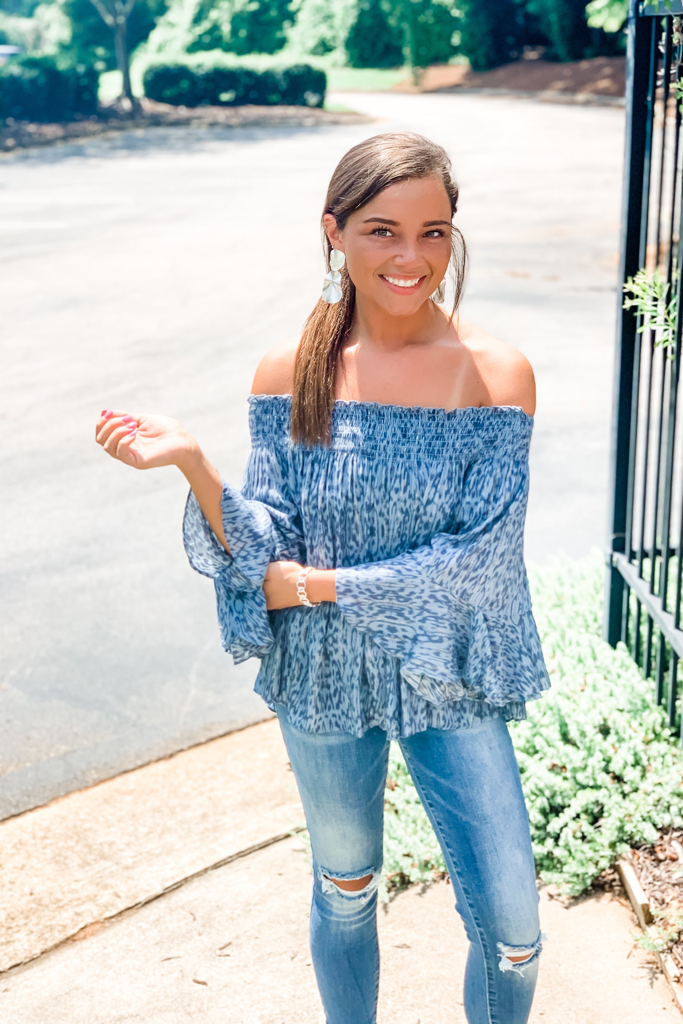 Kasey Off Shoulder Smocked Top