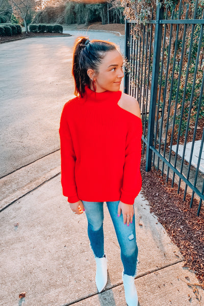 Kimberly Cold Shoulder Sweater in Red