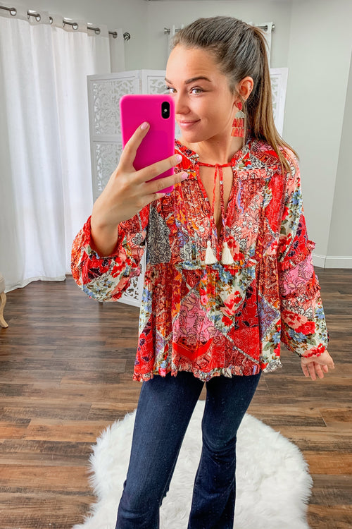 Avery Patchwork Print Blouse