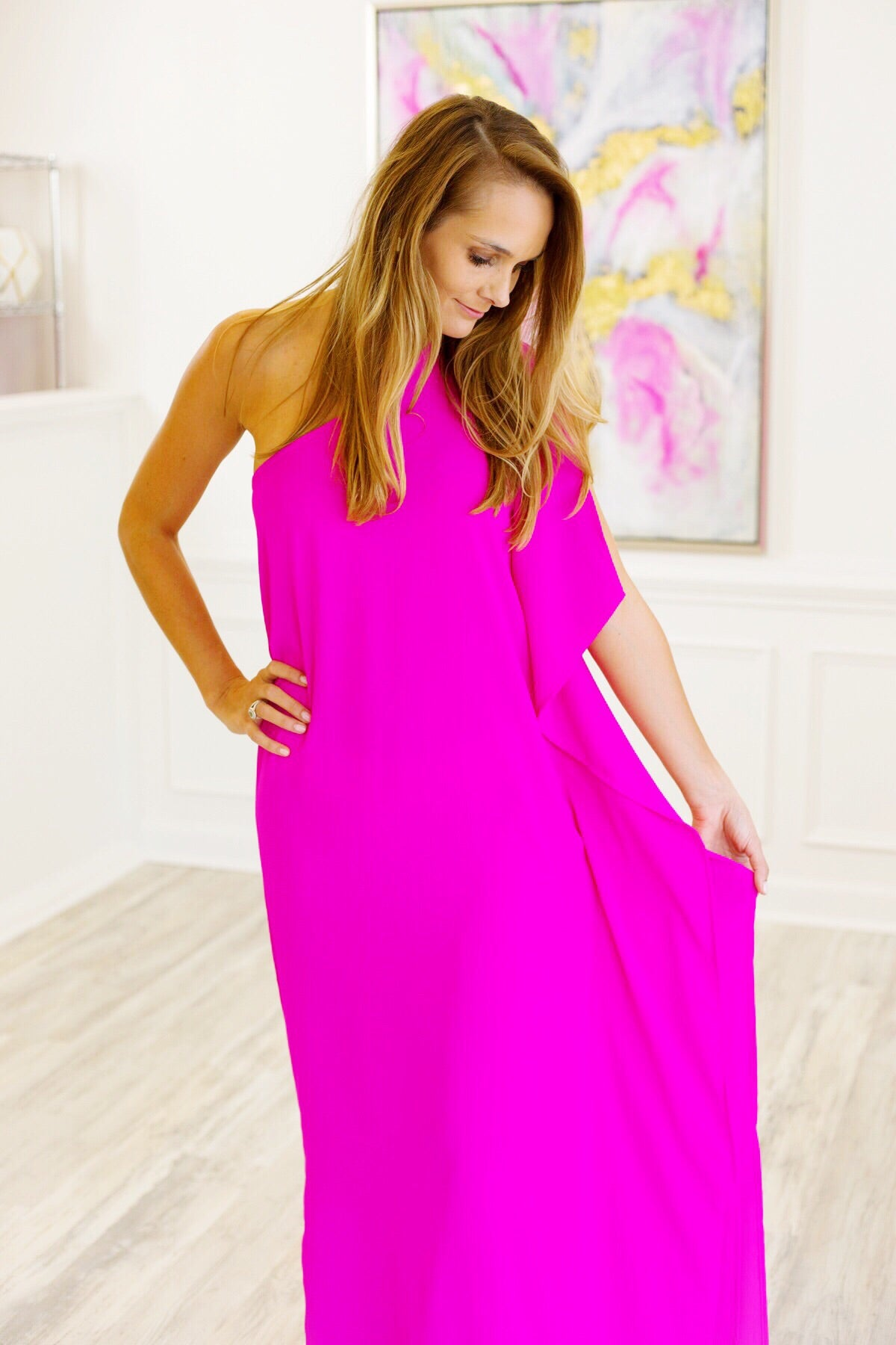 Make a Statement One Shoulder Maxi Dress in Magenta
