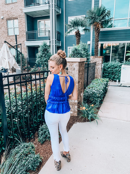 Victoria Sleeveless Top in Blue
