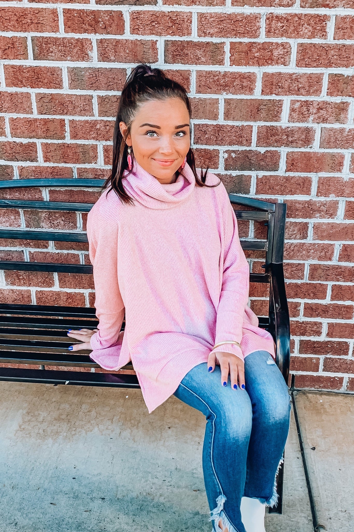 Cozy Perfection Turtleneck Sweater in Pink