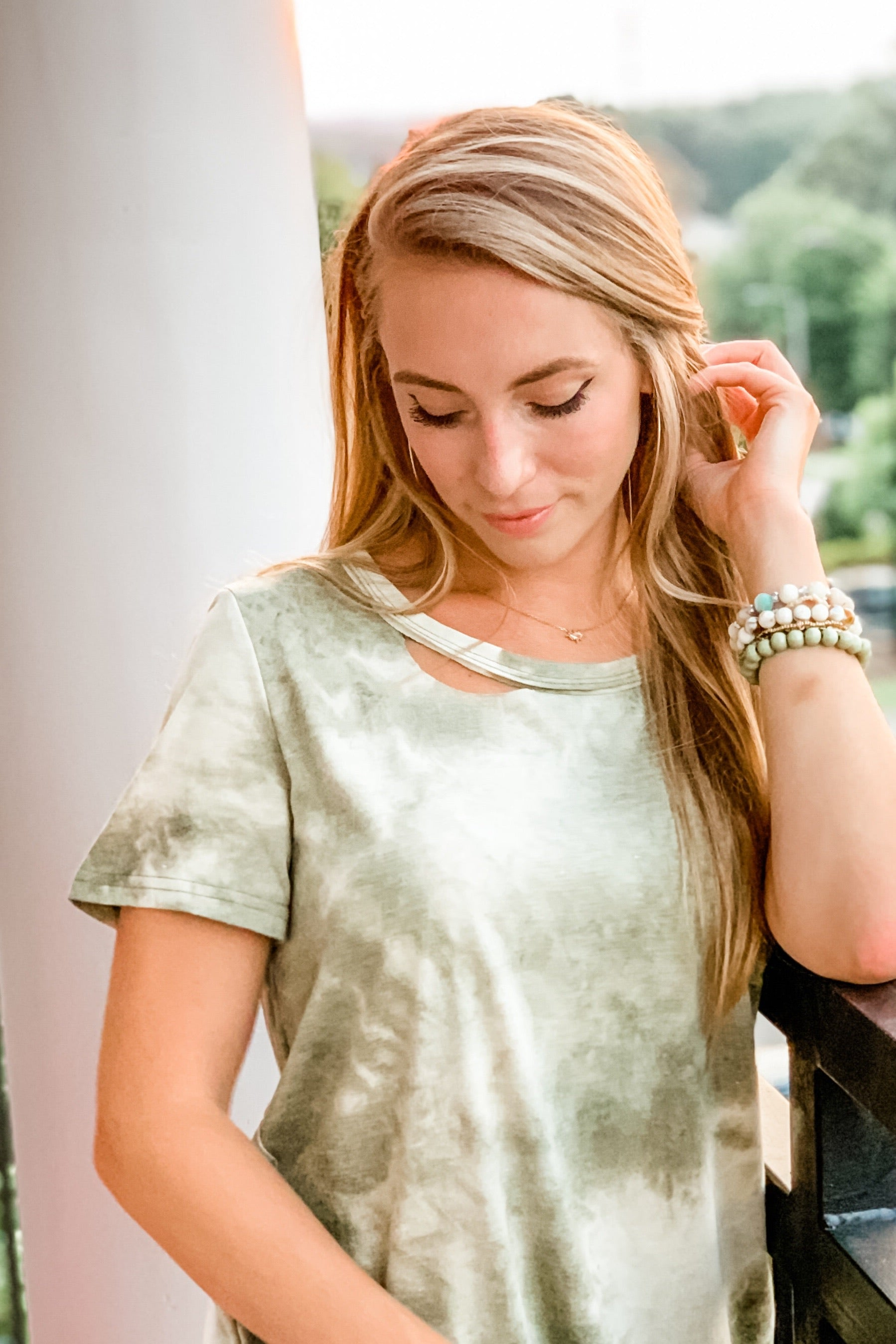 Comfy Cute Tie Dye Top in Olive
