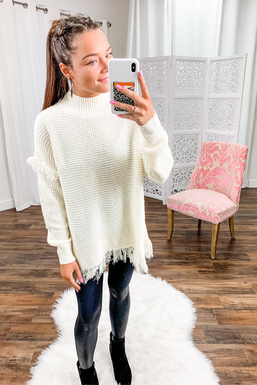 Emory Mock Neck Fringe Sweater