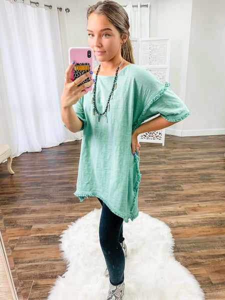 Santa Fe Tunic Top in Dusty Sage