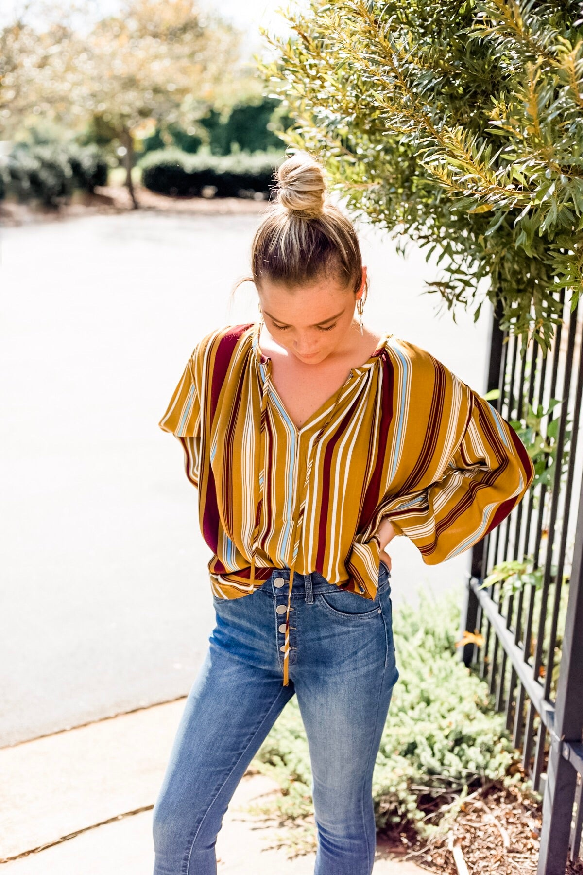 Harvest Striped Top in Mustard