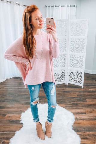 Addison Thermal Knit Top in Pink
