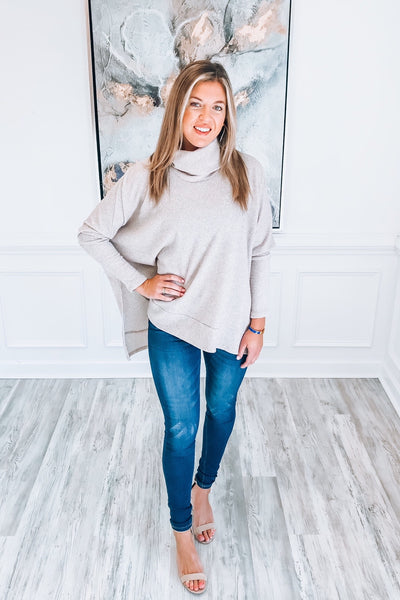Cozy Perfection Turtleneck Sweater in Taupe