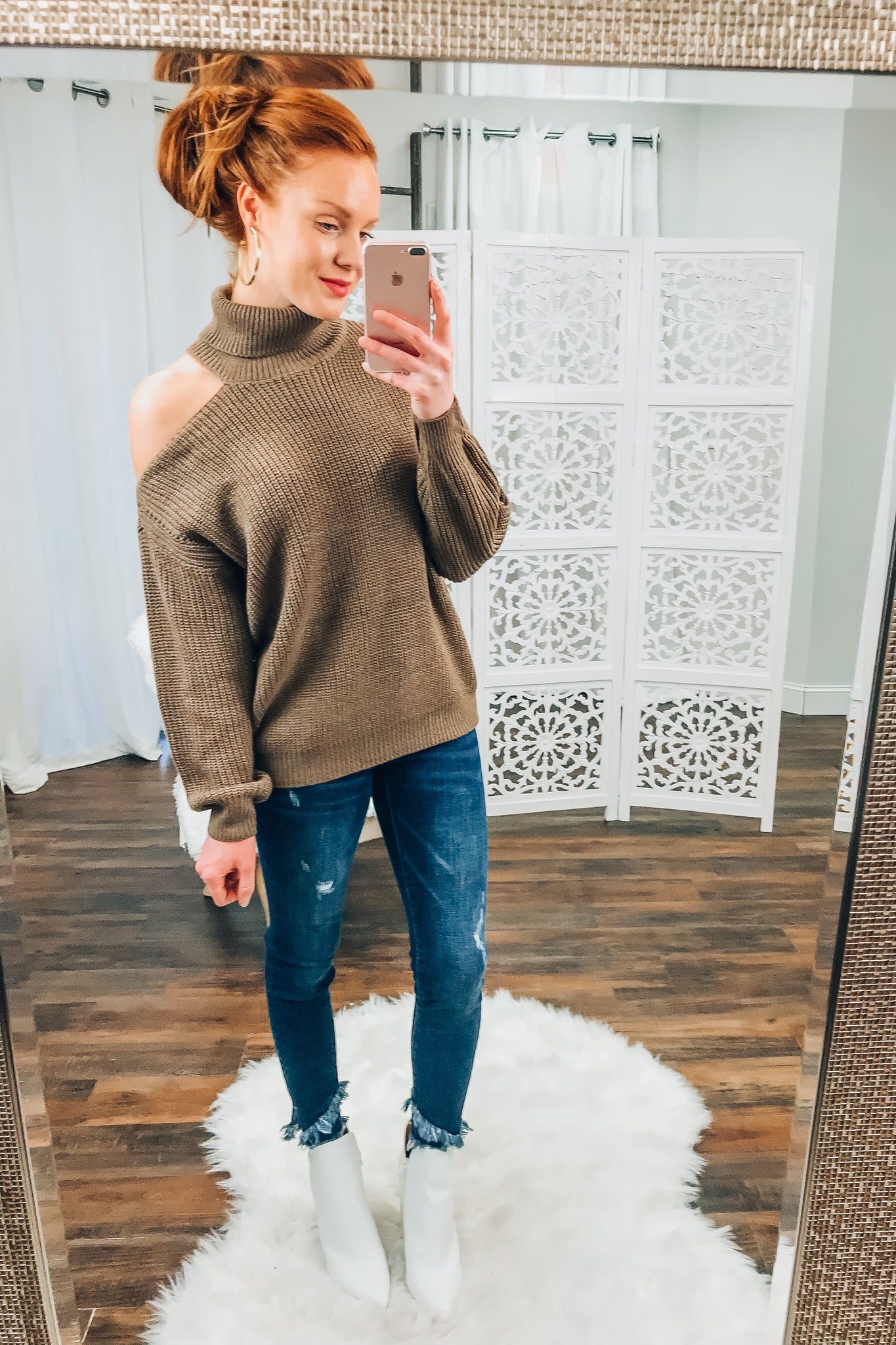 Kimberly Cold Shoulder Sweater in Mocha