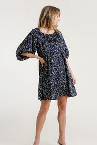 Kendall Navy Polka Dot Puff Sleeve Dress