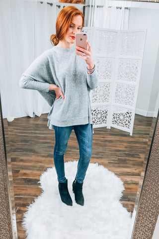 Addison Thermal Knit Top in Heather Grey
