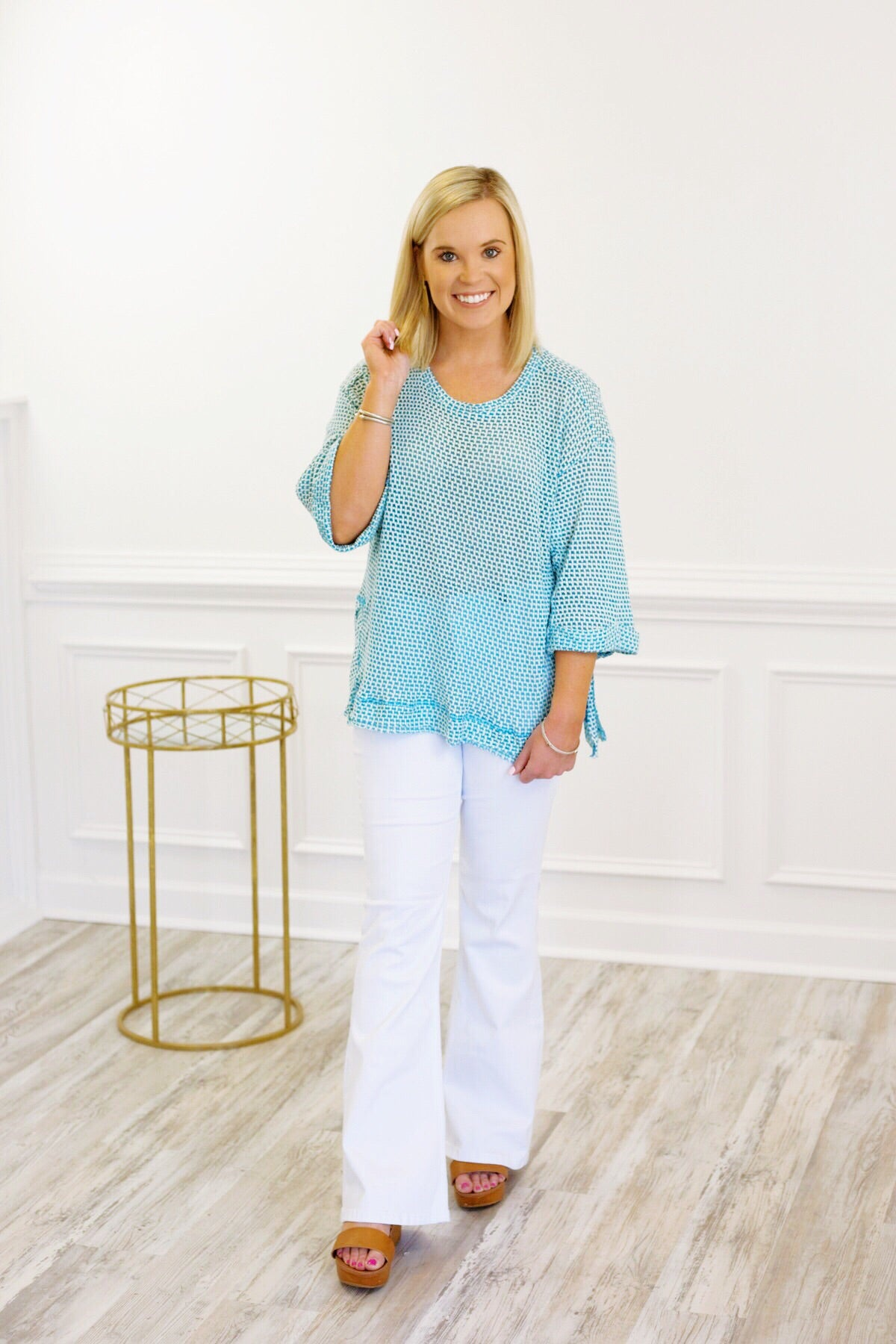 Worry Free Waffle Top in Light Blue
