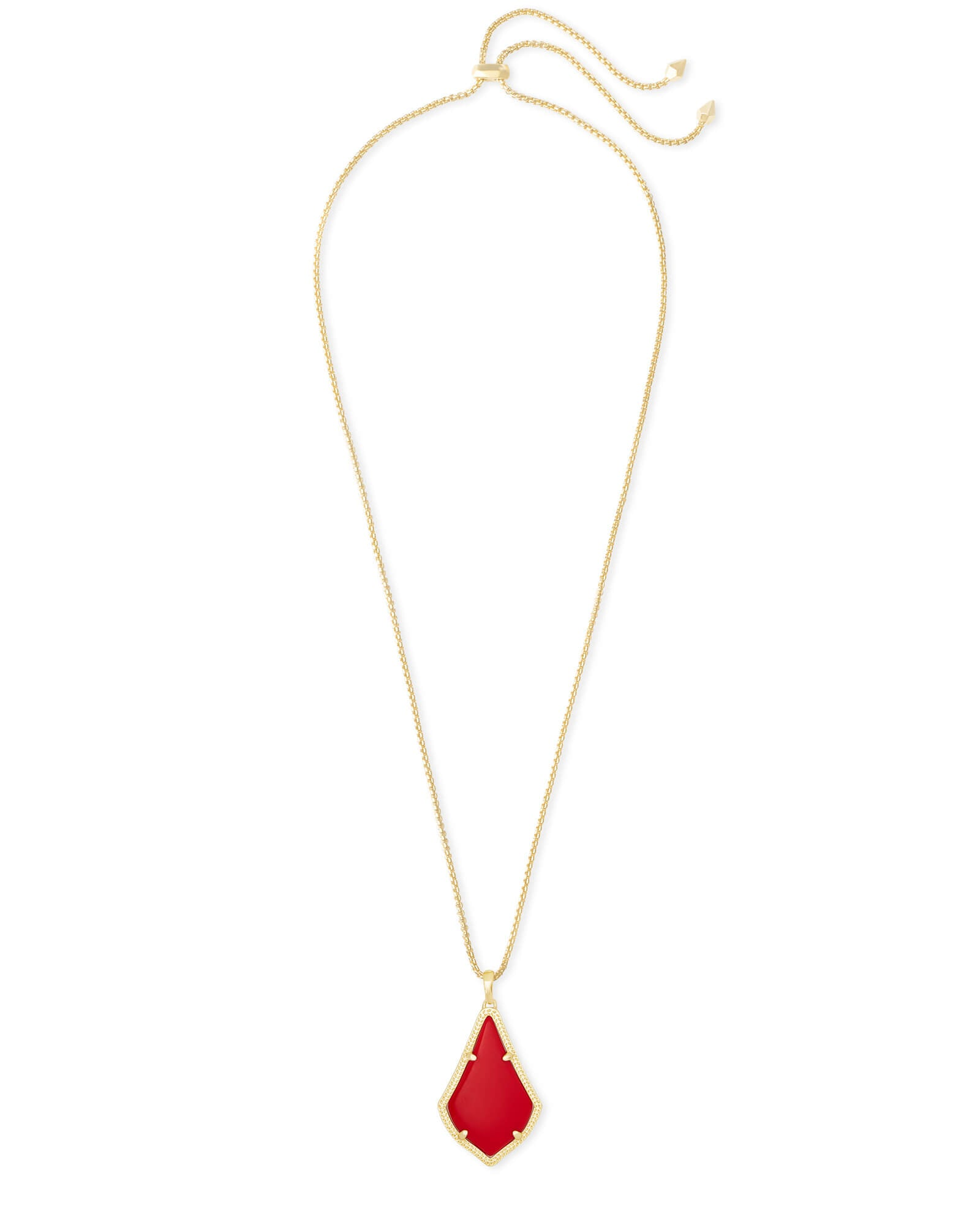 Kendra Scott Alex Gold Pendant Necklace In Bright Red Opaque Glass