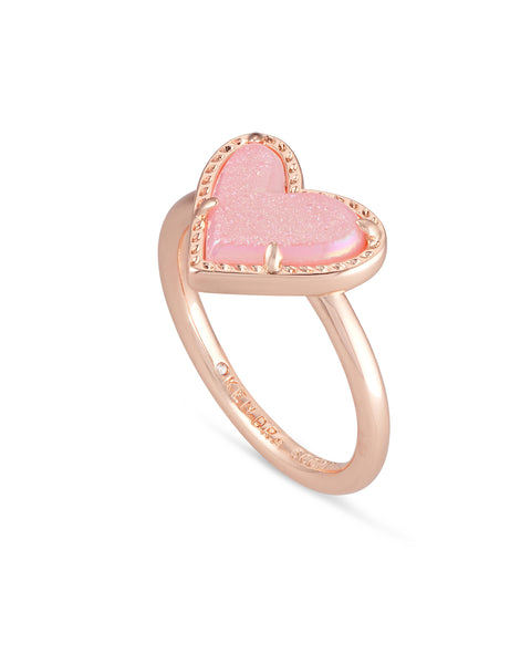 Kendra Scott Ari Heart Rose Gold Band Ring In Pink Drusy