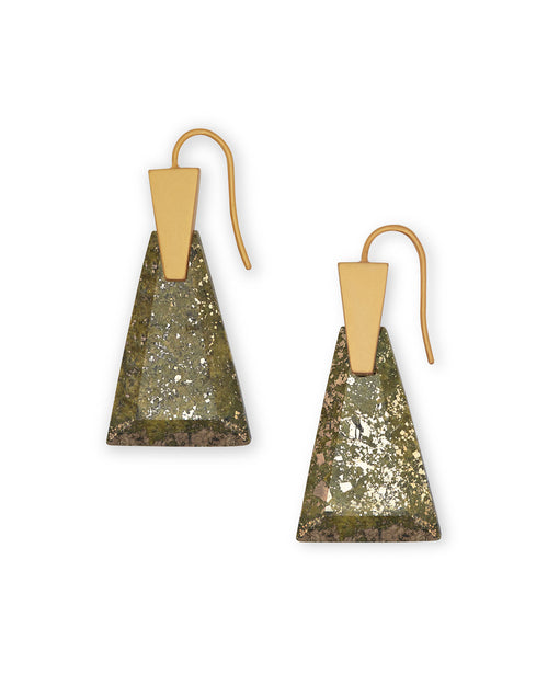 Kendra Scott Collins Vintage Gold Drop Earrings In Olive Epidote