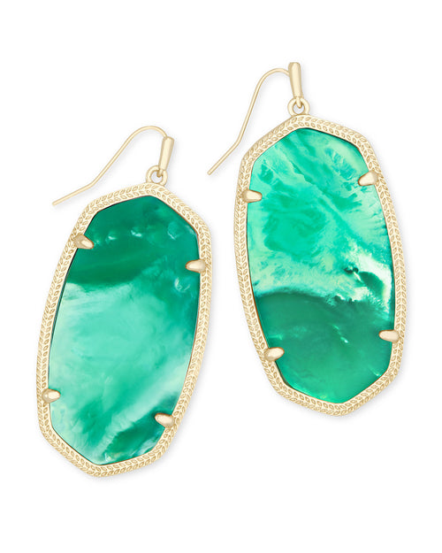 Kendra Scott Faceted Danielle Gold Statement Earrings In Jade Green Illusion