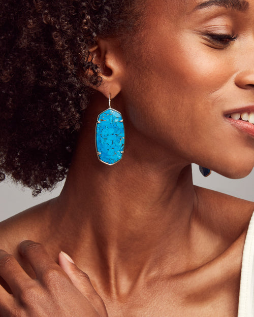 Kendra Scott Faceted Danielle Gold Statement Earrings In Bronze Veined Turquoise Magnesite