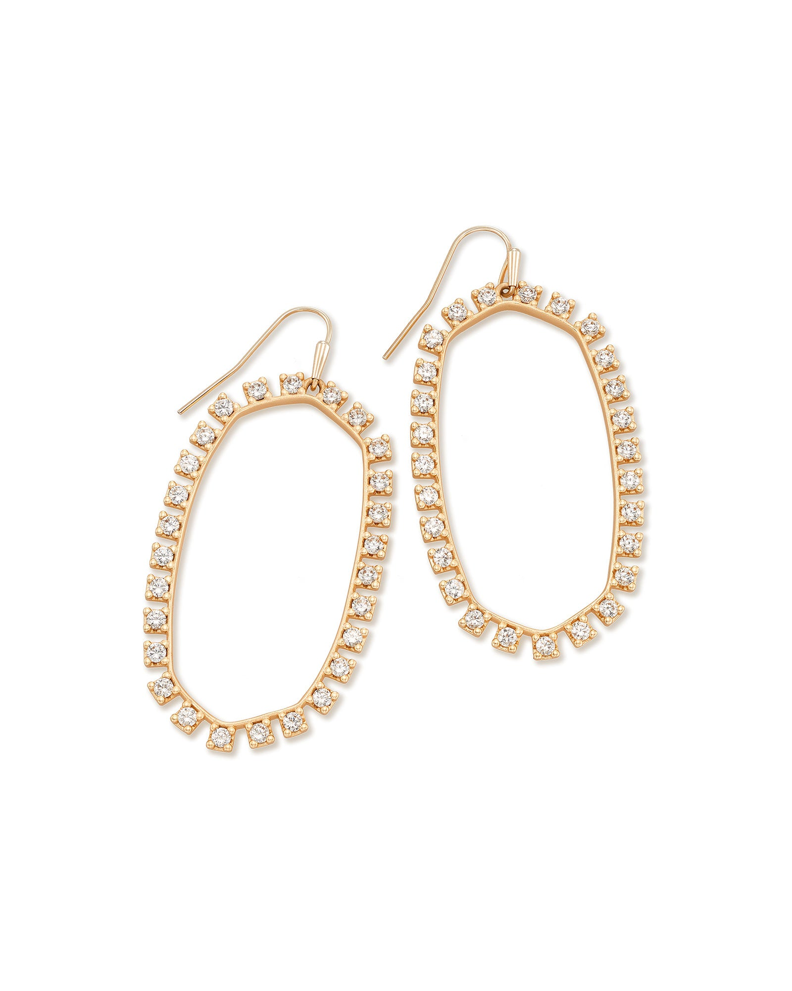 Kendra Scott Danielle Open Frame Crystal Statement Earrings In Rose Gold