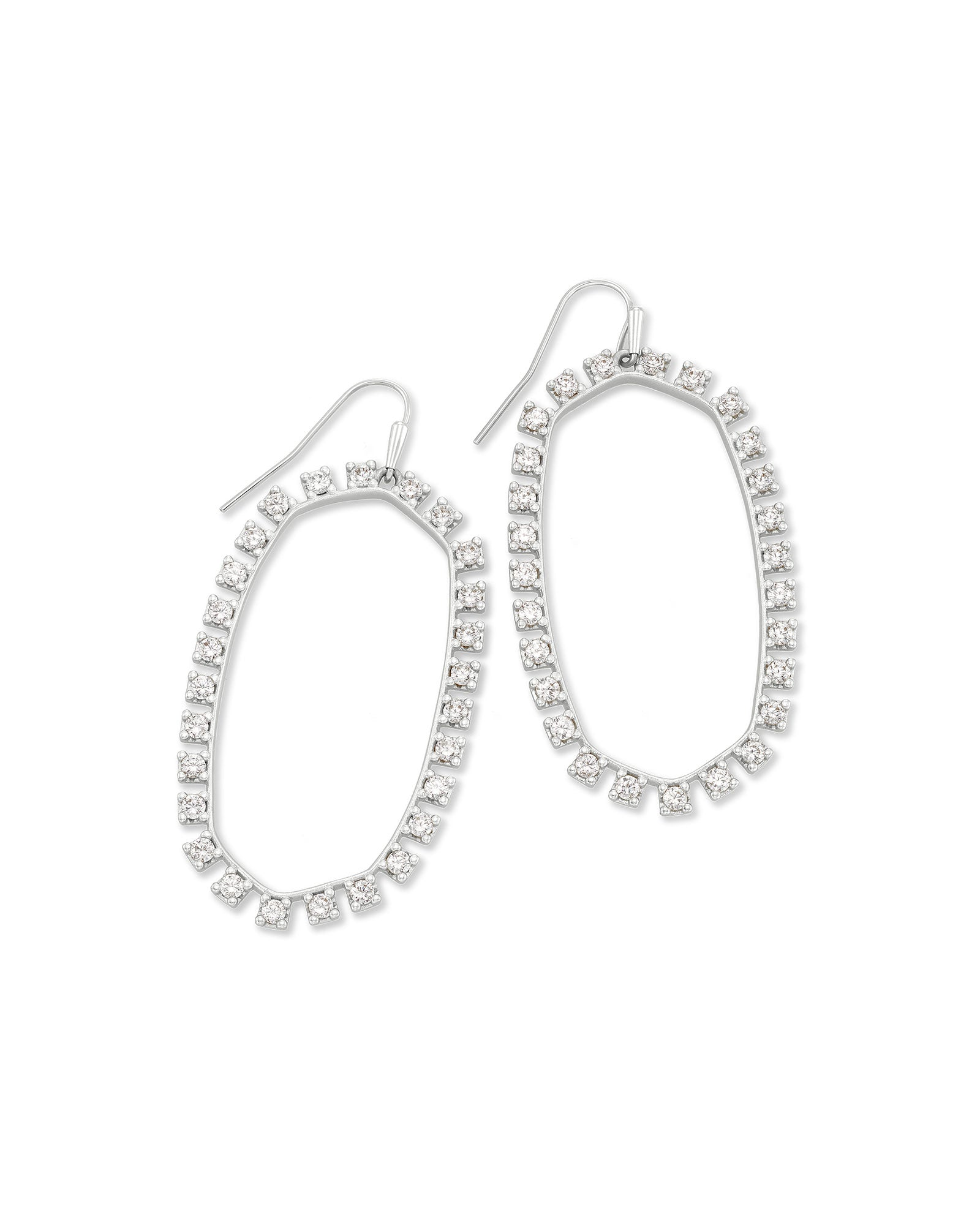 Kendra Scott Danielle Open Frame Crystal Statement Earrings In Silver