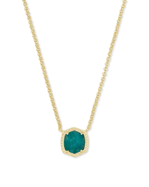 Kendra Scott Davie Gold Pendant Necklace In Dark Teal Amazonite