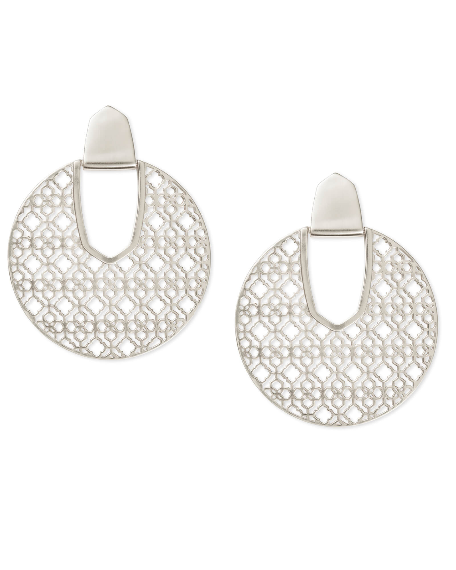 Kendra Scott Diane Silver Statement Earrings In Silver Filigree