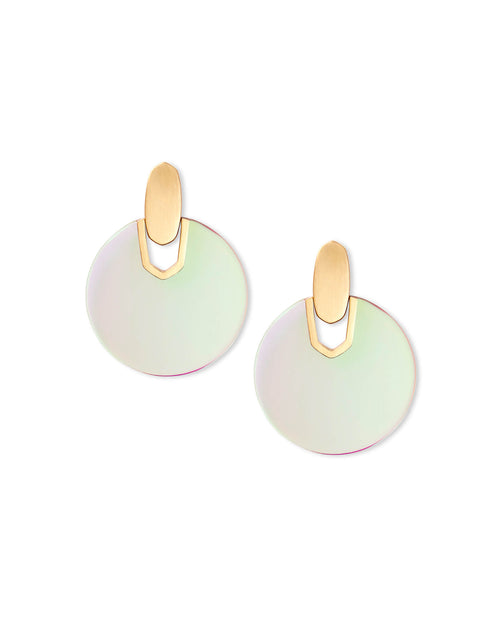 Kendra Scott Didi Gold Statement Earrings In Dichroic Glass