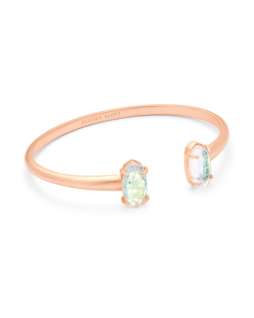 Kendra Scott Edie Rose Gold Cuff Bracelet In Blush Dichroic Glass