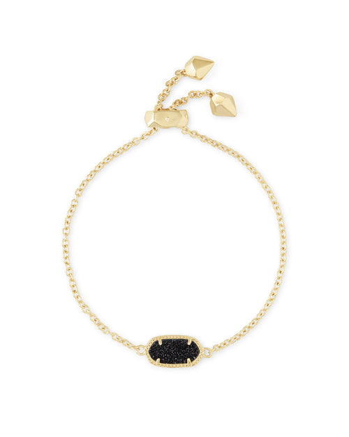 Kendra Scott Elaina Gold Adjustable Chain Bracelet In Black Drusy