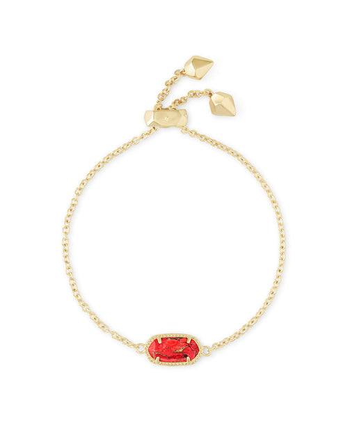 Kendra Scott Elaina Gold Adjustable Chain Bracelet In Bronze Veined Red Magnesite