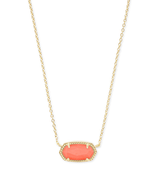 Kendra Scott Elisa Gold Pendant Necklace In Bright Coral Magnesite