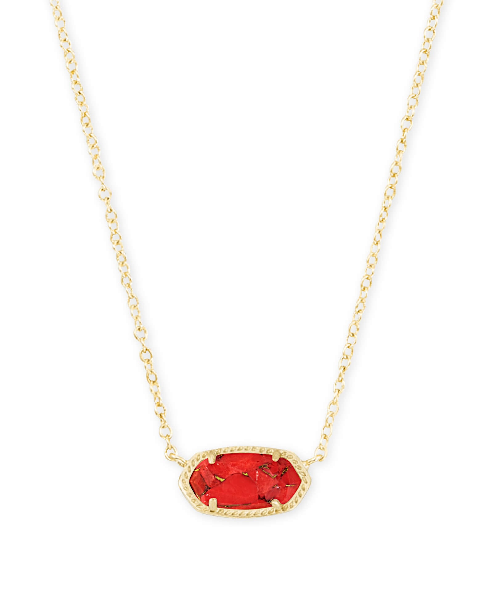 Kendra Scott Elisa Gold Pendant Necklace In Bronze Veined Red Magnesite