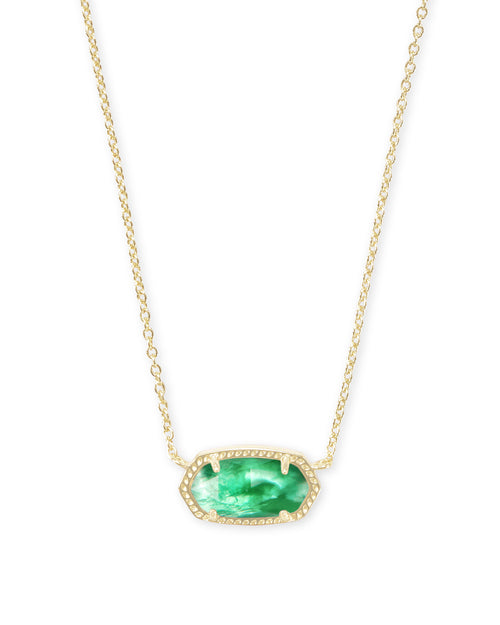 Kendra Scott Elisa Gold Pendant Necklace In Jade Green Illusion