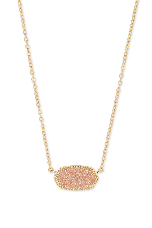 Kendra Scott Elisa Gold Pendant Necklace In Sand Drusy