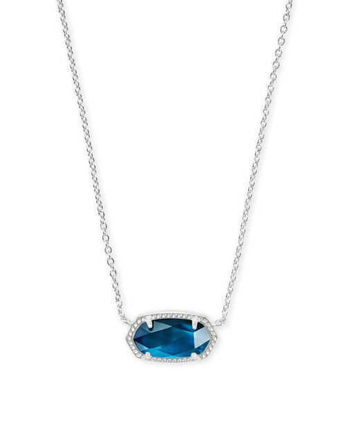 Kendra Scott Elisa Silver Pendant Necklace In Peacock Blue Illusion