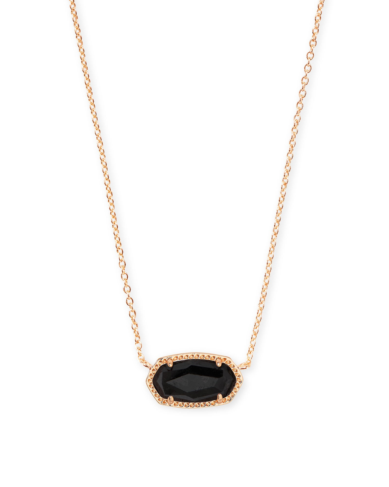 Kendra Scott Elisa Rose Gold Pendant Necklace In Black Granite