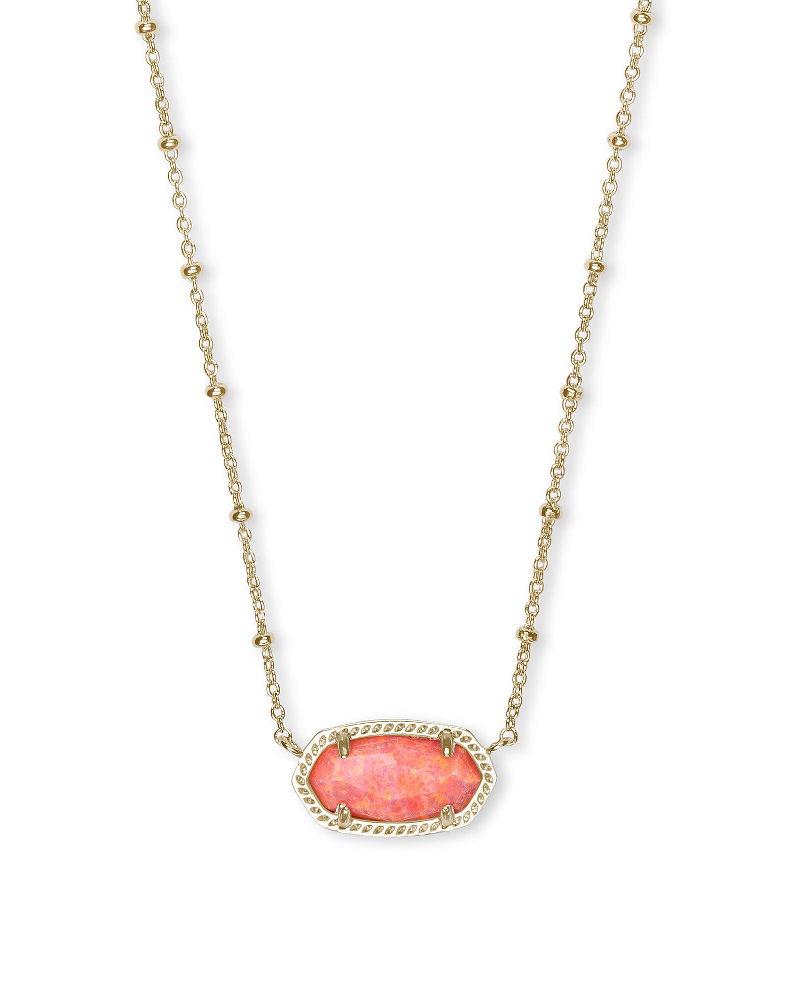 Kendra Scott Elisa Satellite Gold Short Pendant Necklace In Coral Kyocera Opal