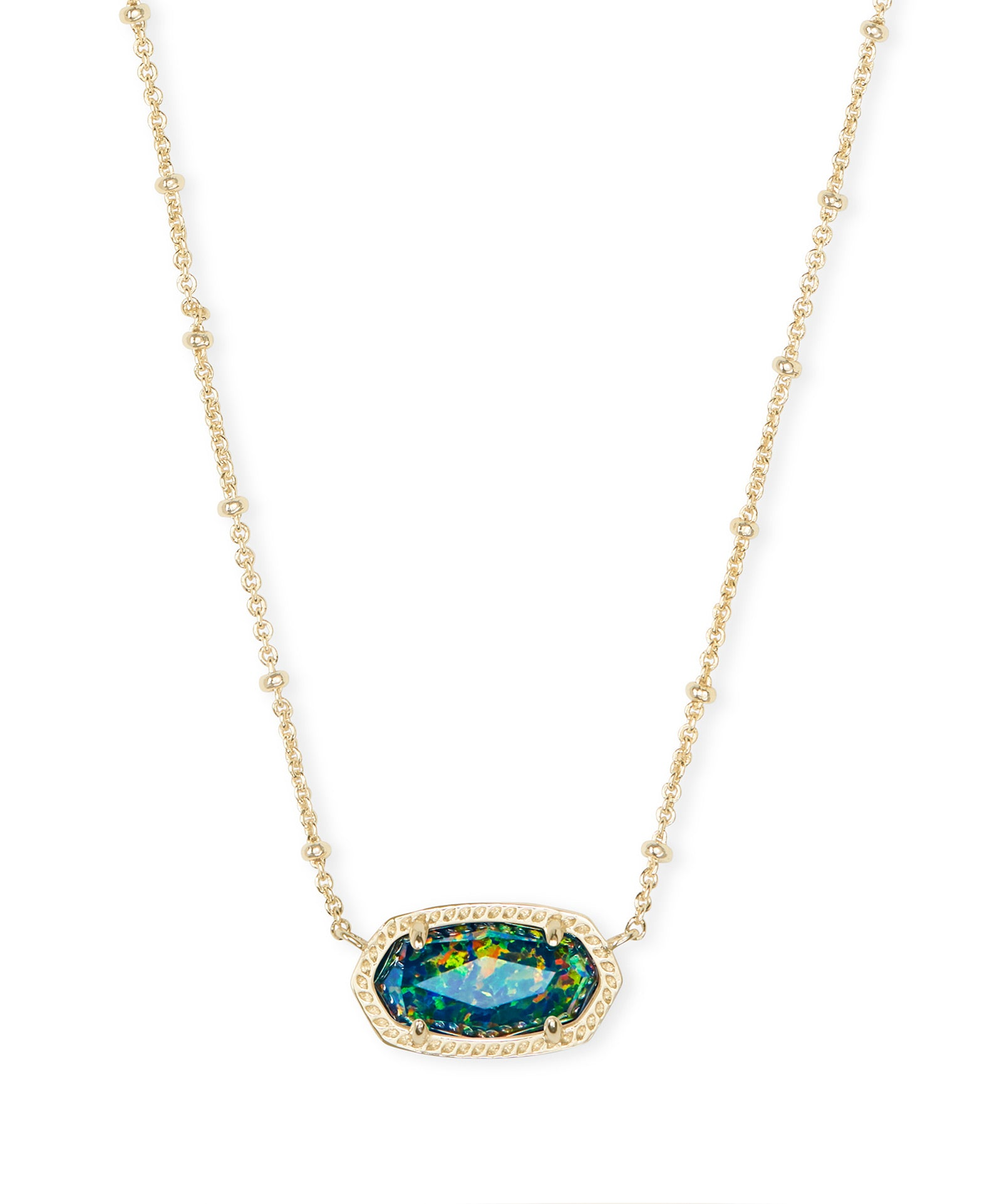 Kendra Scott Elisa Gold Satellite Pendant Necklace In Midnight Kyocera Opal Illusion