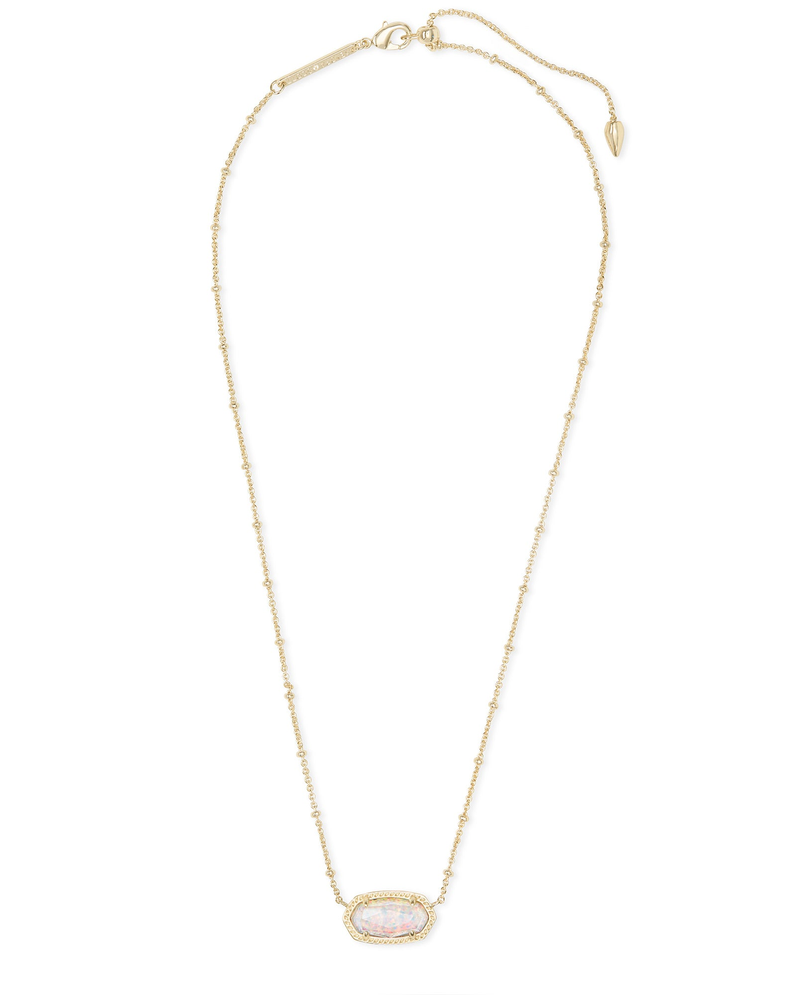 Kendra Scott Elisa Gold Satellite Pendant Necklace In White Kyocera Opal Illusion