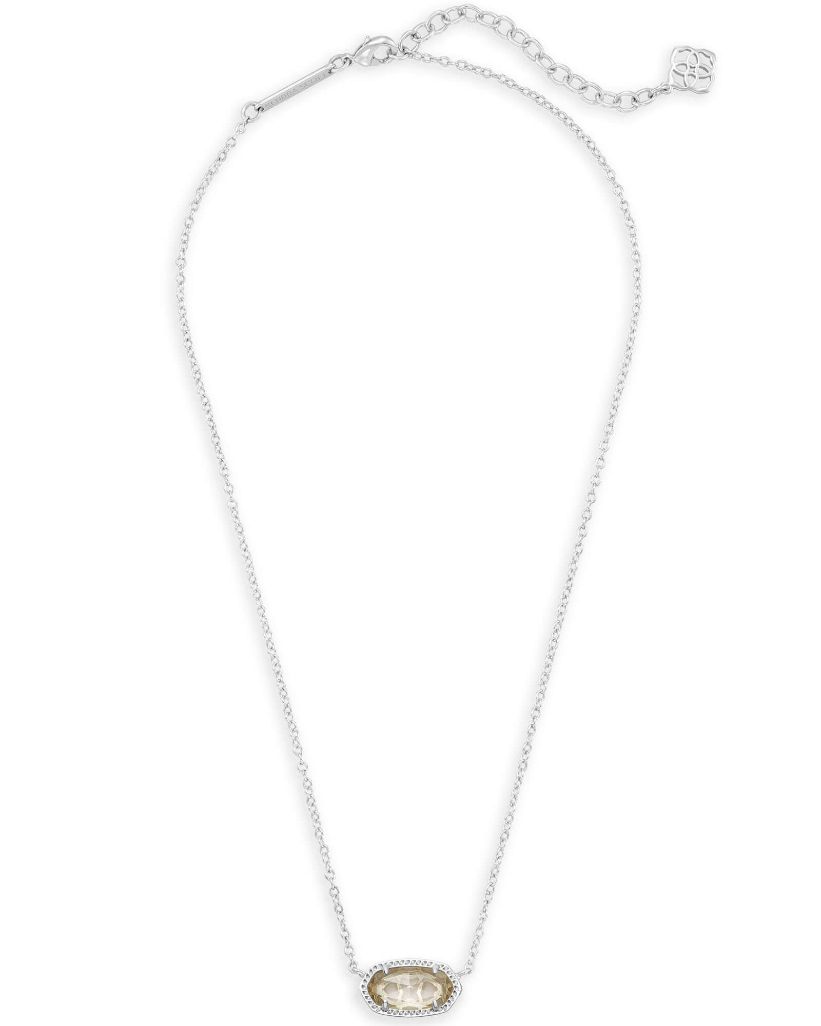Kendra Scott Elisa Silver Pendant Necklace In Clear Crystal
