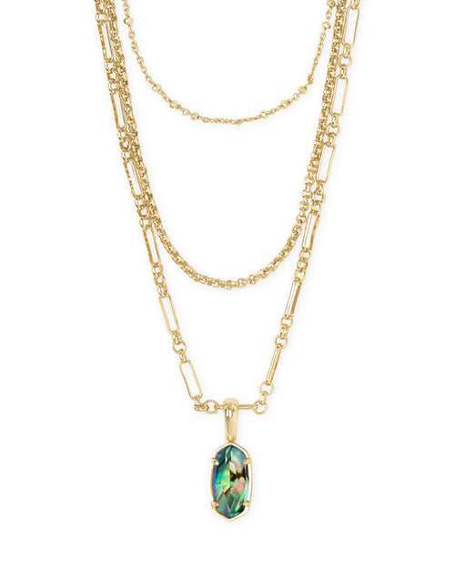 Kendra Scott Elisa Gold Triple Strand Necklace In Abalone Shell
