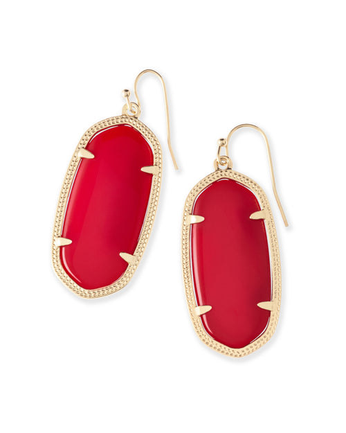 Kendra Scott Elle Earrings Bright Red and Gold