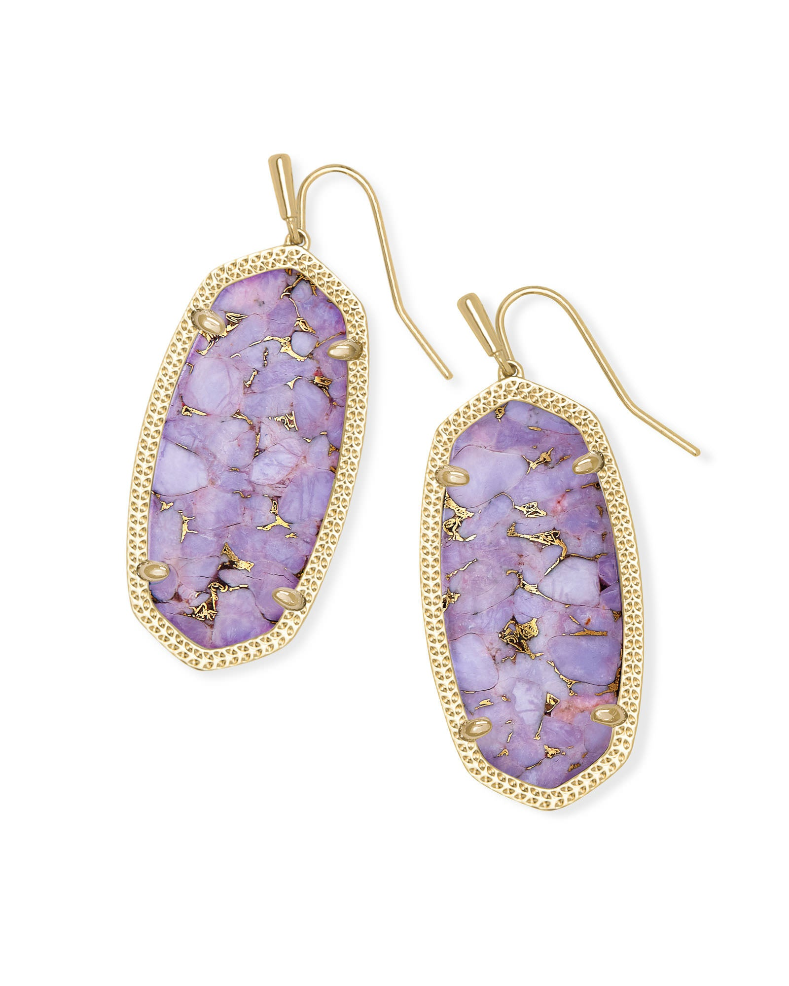 Kendra Scott Elle Gold Drop Earrings In Bronze Veined Lilac Magnesite