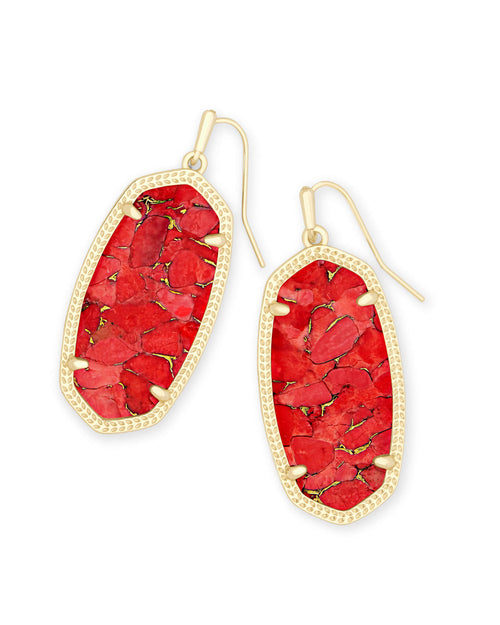 Kendra Scott Elle Gold Drop Earrings In Bronze Veined Red Magnesite