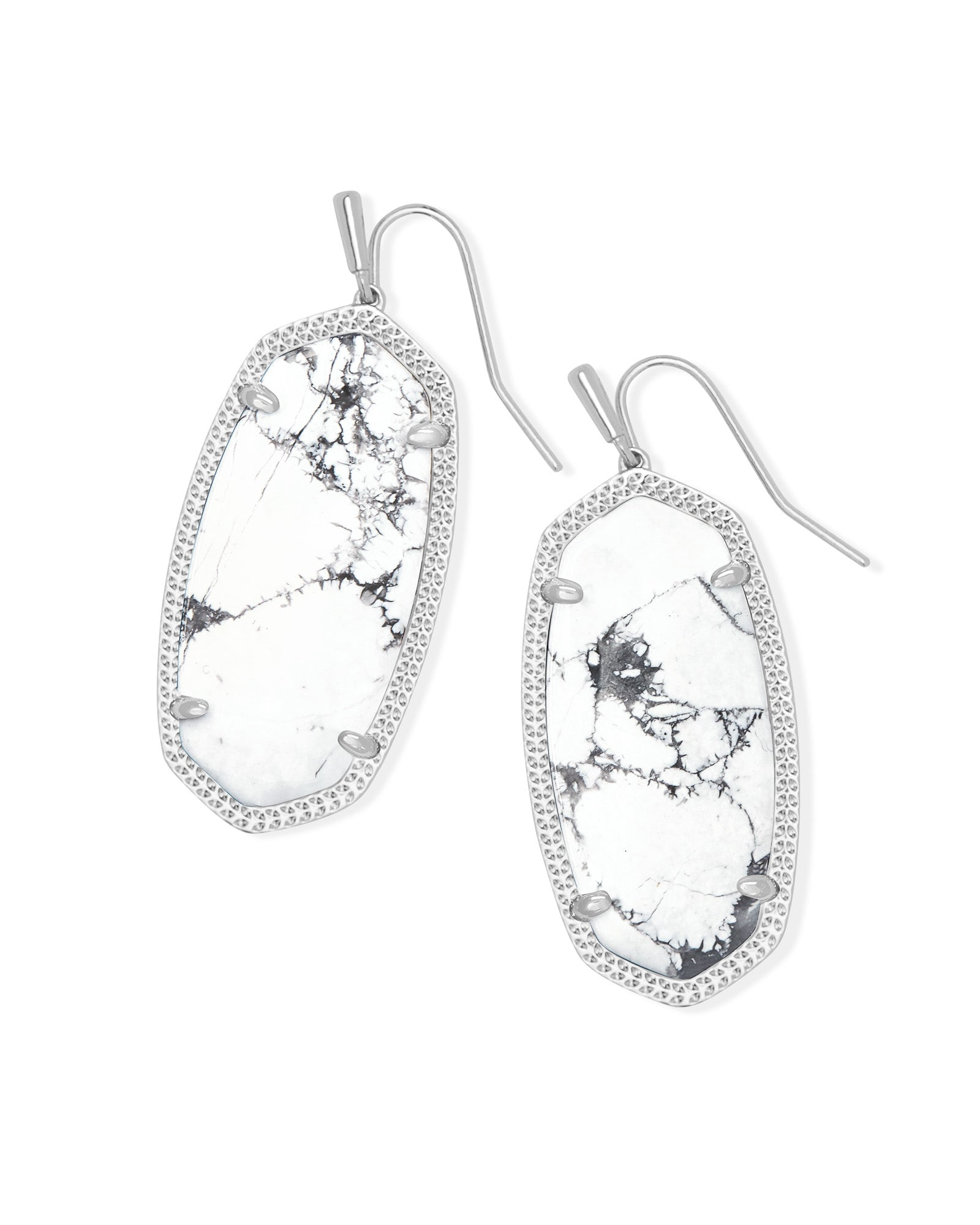 Kendra Scott Elle Silver Drop Earrings In White Howlite