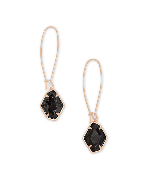 Kendra Scott Ellington Rose Gold Drop Earrings In Black Granite