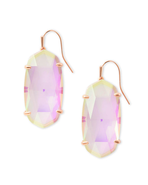 Kendra Scott Esme Rose Gold Drop Earrings In Blush Dichroic Glass