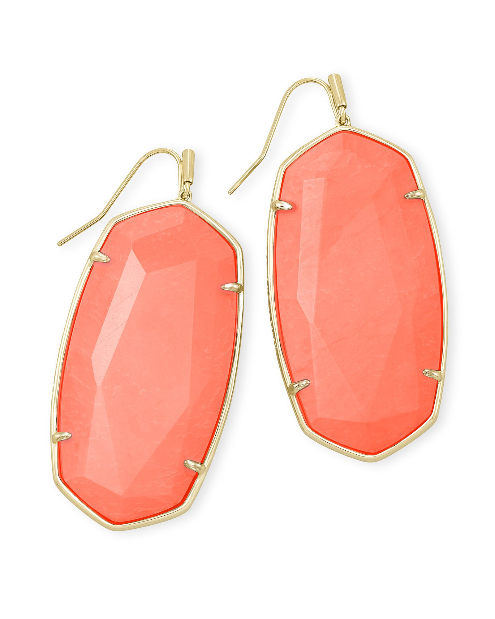 Kendra Scott Faceted Danielle Gold Statement Earrings In Bright Coral Magnesite
