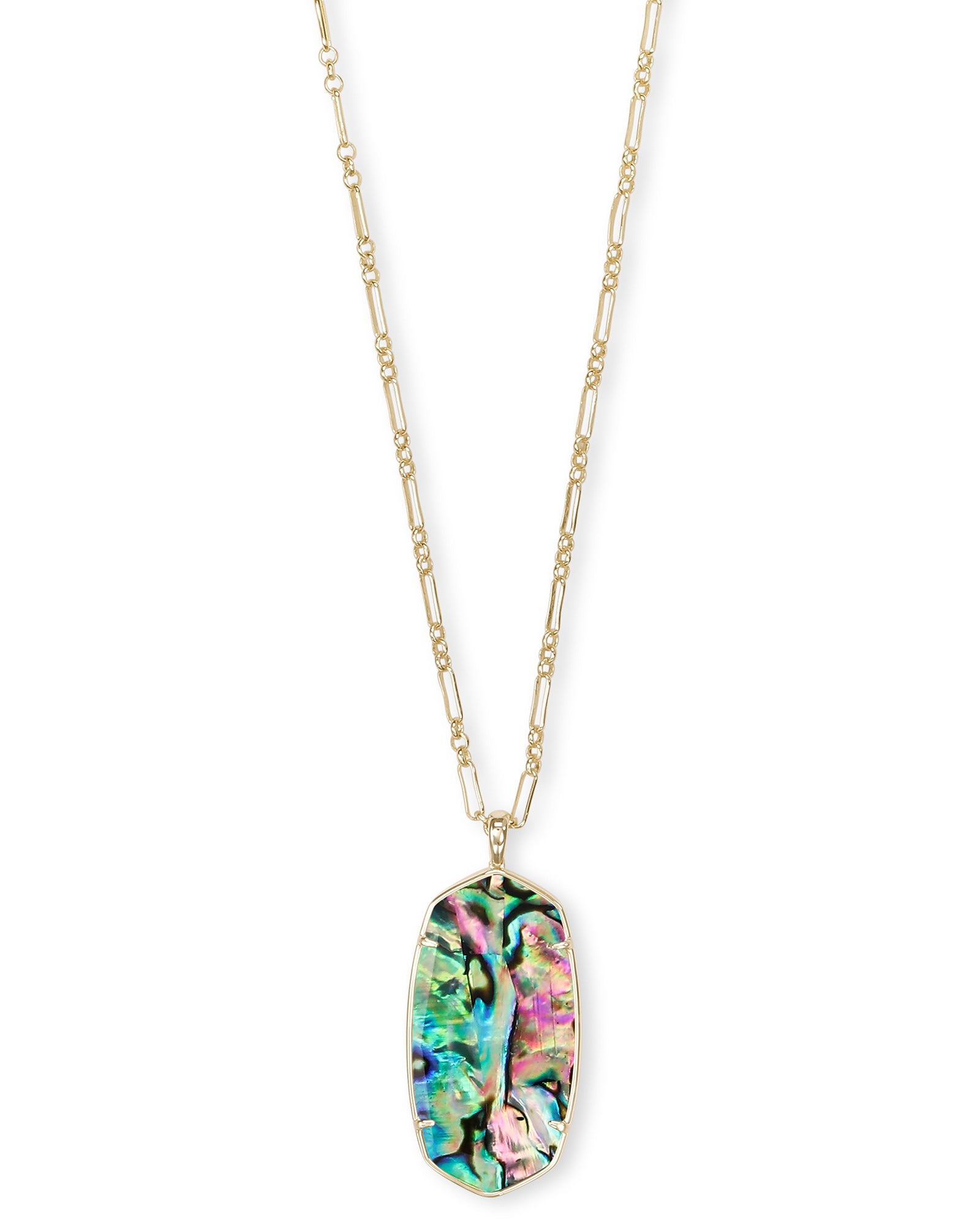 Kendra Scott Faceted Reid Gold Long Pendant Necklace In Abalone
