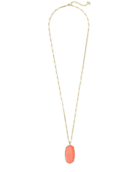 Kendra Scott Faceted Reid Gold Long Pendant Necklace In Bright Coral Magnesite